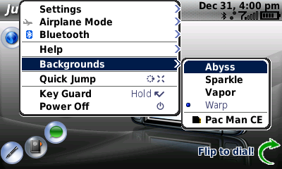 Theme menu from the Sidekick LX