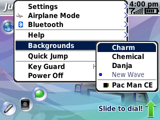 The theme selector in use on the Sidekick Slide