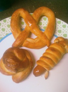 A Pretzel, Pretzel Dog, and Pretzel Poo Roll
