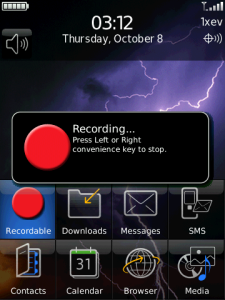The easiest way to create a voice recording on the Blackberry Storm.